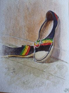 Watercolor Original art work Old Shoes small Original by jadlart