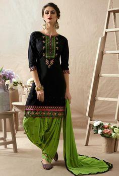 Black Cotton Satin Punjabi Salwar Suit  #patialasuit #punjabisuit #phulkari #shalwarkameez #shalwar  #salwarsuits #designer #ceremonial #suit #suitsonline #stylish #womenwear #womenclothing #nikvik  #usa #designer #australia #canada #malaysia #UAE #freeshipping. Sign up and get USD100 worth vouchers.