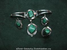"""Купить Комплект из серебра с малахитом """"Вирджин"""" - серебро, серебряные украшения, малахит, серебряное кольцо"""