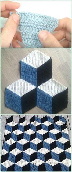 Yeni başlayanlar için Hızlı Ve Kolay Tığ İşyeri Örtüleri Desenleri: Tığ İşaretli Blok Battaniye Ücretsiz Kalıpları.