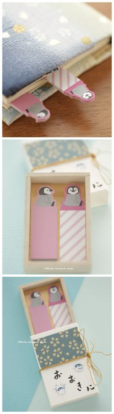 Sticky notes,bookmark Matchbox card,Japanese Miniatures Matchbox,Gift box,cheer up box,Valentine's Gift,Gift for her/him,Girlfriend gift, birthday gift, holiday gift and matchbox art ideas #penguin #japanstyle #stationery #付箋 #文房具  #japanesehandamde #unique #messagecard #handmade #custom #GreetingCards #paper #Longdistancegift #thoughtfulgift #valentineday  #kikuikestudio  #matchboxmessage #千代紙