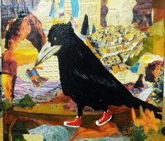 Crow shoes Mixed Media Collage By BonjMi
