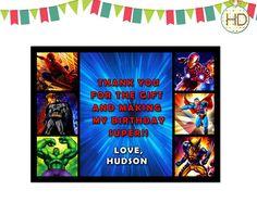 Superhero Thank You, Superhero Party, Marvel Superhero, Superhero Birthday Thank You on Etsy, $12.00 10th Birthday Parties, Birthday Thank You, Superhero Invitations, Party Invitations, Superhero Superhero, Spiderman, Avengers, Marvel, Etsy