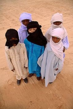 A group of Tuareg Children posing for the camera
