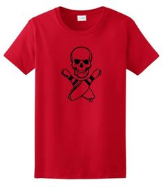 Bowling Skull and Crossbone Pins Ladies T-Shirt Large Red