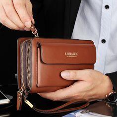 Mens Leather Zipper Long Wallet Phone Business Bag Card Holder Clutch Handbag US Leather Wallet Pattern, Leather Clutch Bags, Leather Handbags, Pu Leather, Real Leather, Clutch Wallet, Smartphone, Purses, Men Accessories