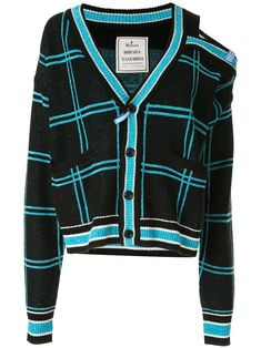 Shop online black Maison Mihara Yasuhiro asymmetric checked cardigan as well as new season, new arrivals daily. Crop Top Sweater, Crop Top Shirts, Black Cardigan, Classy Outfits, Trendy Outfits, Cute Outfits, Kpop Outfits, Fashion Outfits, Fashion Design Sketches