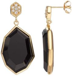 Sophie Miller Onyx & Cubic Zirconia 14k Gold Over Silver Drop Earrings