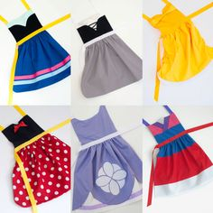 Cute dress up aprons: Snow White, Cinderella, Sleeping Beauty, Ariel, Belle, Rapunzel, Mulan, Merida, Anna, and more!