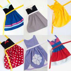 Pick 6 princess set dress up aprons: Snow White, Cinderella, Sleeping Beauty, Ariel, Belle, Rapunzel, Mulan, Elsa,  Anna, and more!