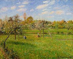 """Camille Pissarro encontró en el valle del Oise la vida rural que le inspiró hacia el Impresionismo. Un pequeño homenaje en el 112º aniversario de su adiós al Maestro de Cézanne, Gauguin y tantos otros. """"Mañana de primavera, Eragny"""", 1900."""