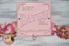 Cast Iron Bathroom Wall Decor Hook Sign Pink by KatsKoolStuff, $12.00