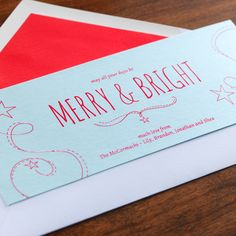 Merry & Bright Holiday Card by Checkerboard Ltd.