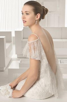 Beaded lace open back wedding dress by Rosa Clara 2015 bridal collection.