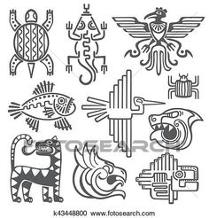 Illustration of Historic aztec, inca vector symbols, mayan temple pattern, native american culture signs. Tattoo ancient tribes in form of abstract animals illustration vector art, clipart and stock vectors. Arte Tribal, Aztec Art, Aztec Symbols, Celtic Symbols, Ancient Symbols, Egyptian Symbols, Ancient Art, Inka Tattoo, Art Chicano