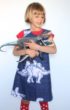 Upcycled dinosaur pinafore dresses by My Sister Mabe1