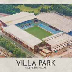 'Vintage Football Grounds - Villa Park (Atson Villa FC)' by twelfthman Aston Villa Fc, Super Club, British Football, Villa Park, Football Stadiums, Vintage Football, Classic Cocktails, Cathedrals, First World