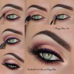 We love the purple liner by Maya Mia that makes her green eyes stand out! For all the finest makeup, visit Beauty.com.