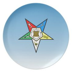 OES Order of the Eastern Star Blue Dinner Plate