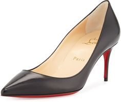 Christian Louboutin Decollette Leather Red Sole Pump, Black