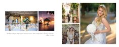 Wedding photo album inspiration spread, text and photos
