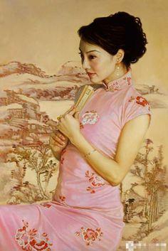 陈逸鸣油画作品:仕女系列-2 - 甜蜜回忆  2004年作 作品尺寸:122*81cm