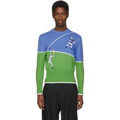 e9046404b1f3 Thom Browne Pull à col ras du cou bleu et vert Tennis Player Classic €1535