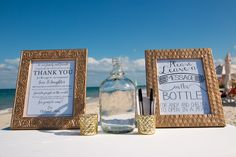 A unique version of the guest book; have your guests write you a message in a bottle! #SecretsPlayaMujeres #Mexico #DestinationWedding