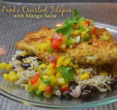 Panko Crusted Tilapia with Mango Salsa. Recipe found on http://www.wannabite.com