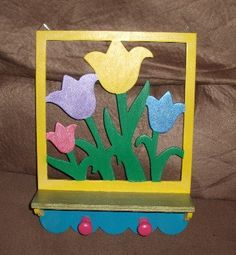 bright colorful wall hanger with 2 hooks by SMILESbyMonaLisa