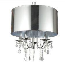 HomCom Modern Silver Chandelier Ceiling Lighting - Maple Leaf Crystal Pendants