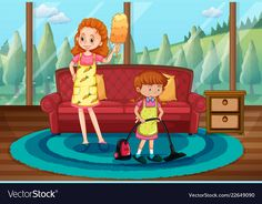 Monther and daughter cleaning house vector image on VectorStock House Vector, House Illustration, Free Courses, Rodin, Background Pictures, Clean House, Adobe Illustrator, Vector Free, Art Drawings