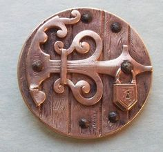 Locked Old Door Pictorial Button Vntg Victorian Cut Steel Metal Lock Picture