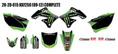 D'Cor 2015 Team Monster Energy Kawasaki Graphics / Trim / Black Numberplates Kit – KX250F – 2009-2012 _20-20-615