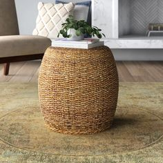 End tables: the perfect piece to place in your parlor next to a loveseat, armchair, or couch, there to hold your morning cup of joe, evening glass of wine, and a table lamp for when it's time to settle down with a good book. But not all end tables need to strike a traditional touch: take this one for example! Crafted from rattan, it showcases a woven brown finish and a barrel shape, perfect for eclectic and coastal homes alike! Rattan Coffee Table, Rattan Side Table, Console Table, A Table, Table Lamp, Wood Pedestal, Wood Slab, Backyard Projects