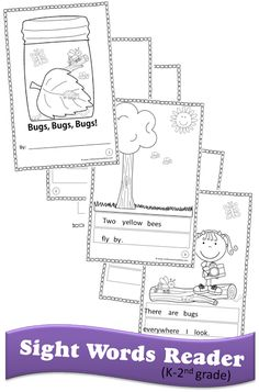 FREE Bugs Sight Word Reader - this is such a fun way for kids to practice sight words as they cut & paste sight word sentences, read sight words, and color to make their own emergent readers. Perfect for kindergarten, first grade, second grade Sight Word Practice, Sight Word Games, Sight Word Activities, Reading Activities, Reading Groups, Spring Activities, Science Activities, First Grade Reading, Early Reading