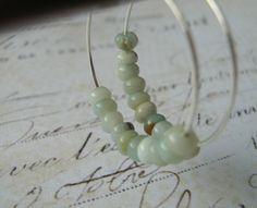 Amazonite Earrings, Amazonite Stone Earrings, Sterling Silver Hoop Earrings