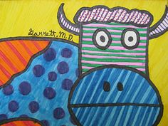 Love the idea of drawing animals and filling with bold colored patterns - inspired by Romero Britto's use of color and pattern