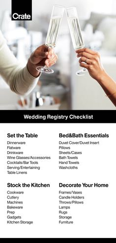 Stock the kitchen, set the table, make the bed. Our printable checklist makes it easy to register for every essential for every space—and then a few fun extras, too. Eyeing higher ticket items, like a sofa or bar cart? Add them to your registry as a group Wedding Goals, Wedding Tips, Wedding Details, Diy Wedding, Dream Wedding, Wedding Day, Wedding Quotes, Wedding Stuff, Wedding Registry Checklist
