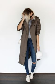 the green oversized trench coat ( and her hair)