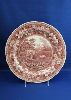 Vintage Spode Traditions Series Milkmaid Red by KattsCurioCabinet Scalloped Edge, Dinner Plates, Decorative Plates, Porcelain, Traditional, Antiques, Tableware, Red, Pattern