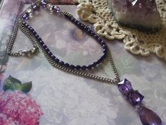 Purple Beaded Chain Necklace 24 by cynhumphrey on Etsy, $18.99