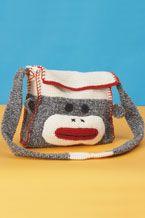 crochet sock monkey bag for my Julia Crochet Sock Monkeys, Crochet Monkey, Crochet Baby, Monkey Bag, Knitting Supplies, Crochet Purses, Crochet Accessories, Handmade Bags, Crochet Projects