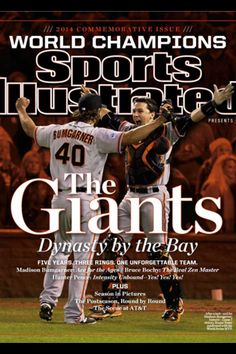 Buster Posey & Madison Bumgarner SF Giants - 2014 World Series champions! 2014 World Series, Madison Bumgarner, San Francisco Giants Baseball, Sports Illustrated Covers, Willie Mays, My Giants, Champion Sports, Buster Posey, Baseball Scores
