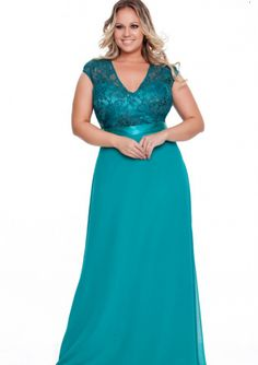 Turquoise Column V-neck Bodice Chiffon Floor Length Plus Size Evening Dress / Prom Dresses/ Mother of The Bride Dresses