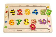 Numbers Matching Puzzle by Hape. $12.24. From the Manufacturer                Numbers Matching Puzzle by Hape has ten numbered pieces and at least ten different activities, there are countless ways kids can play. Pieces fit into a sturdy wooden frame. Finger-sized pegs make handling pieces a snap. Develops fine motor skills, cognition, and visual senses. Puzzles by Hape are directly printed onto the wood base, unlike other puzzles. Durable child safe paint finish and ...