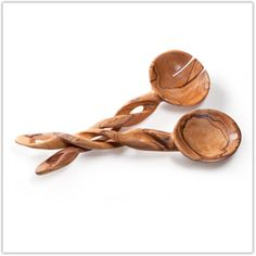 @WorldCrafts African Olive Wood Serving Set-This useful serving set is hand-carved from olive wood by a group of more than 400 artisans in Kenya who have been rescued from prostitution. Each set includes a fork and spoon that each measure 11 inches long. #fairtrade