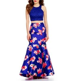 092b00b650 B. Darlin Glitter Lace High Neck Top Floral Print Skirt Two-Piece Trumpet  Dress