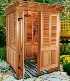 outdoor shower cabana - this will only be usefull for canadian summers. either that or time for a second home someone warm!
