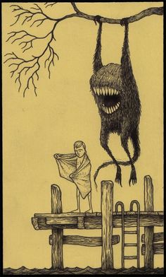 John Kenn Mortensen: writing prompt: what's happening here? If the creature is not going to attack him, what might be happening?